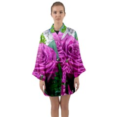 Rose Pink Purple Flower Bouquet Long Sleeve Kimono Robe