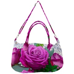 Rose Pink Purple Flower Bouquet Removal Strap Handbag