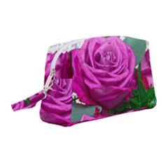 Rose Pink Purple Flower Bouquet Wristlet Pouch Bag (medium)