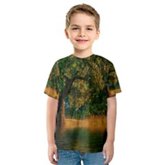 Nature Tree Sunset Giraffe Animal Kids  Sport Mesh Tee