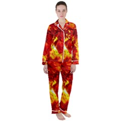 Bernstein Burning Stone Gem Satin Long Sleeve Pyjamas Set