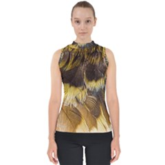Wing Feather Bird Animal World Mock Neck Shell Top