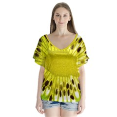 Kiwi Vitamins Eat Fresh Healthy V Neck Flutter Sleeve Top