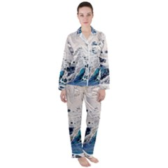 Paint Acrylic Paint Art Colorful Satin Long Sleeve Pyjamas Set