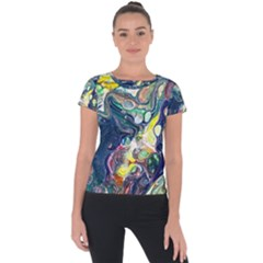 Paint Acrylic Paint Art Colorful Short Sleeve Sports Top  by Pakrebo
