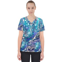 Paint Acrylic Paint Art Colorful Women s V-neck Scrub Top