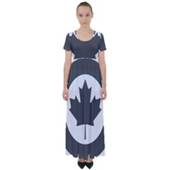 Roundel Of Canadian Air Force - Low Visibility High Waist Short Sleeve Maxi Dress