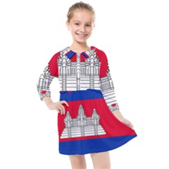 National Flag Of Cambodia Kids  Quarter Sleeve Shirt Dress by abbeyz71