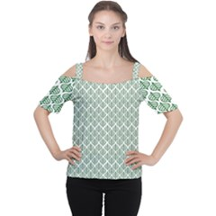 Green Leaf Pattern Cutout Shoulder Tee by Alisyart