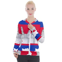 Flag Map Of Cambodia Casual Zip Up Jacket