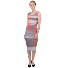 Abstract Color Sleeveless Pencil Dress