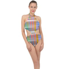 Abstract Color Halter Side Cut Swimsuit