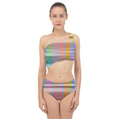Abstract Color Spliced Up Two Piece Swimsuit