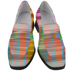 Abstract Color Women s Chunky Heel Loafers