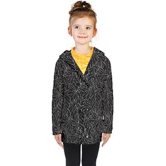 Autumn Leaves Black Kids  Double Breasted Button Coat by Jojostore
