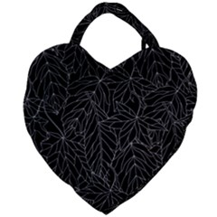 Autumn Leaves Black Giant Heart Shaped Tote by Jojostore
