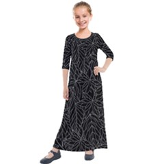 Autumn Leaves Black Kids  Quarter Sleeve Maxi Dress by Jojostore