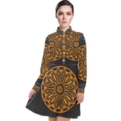 Background Design Pattern Tile Long Sleeve Chiffon Shirt Dress