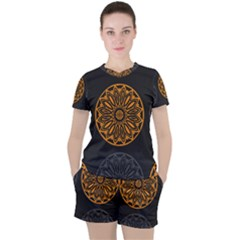 Background Design Pattern Tile Women s Tee And Shorts Set