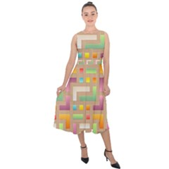 Abstract Background Colorful Midi Tie Back Chiffon Dress by HermanTelo