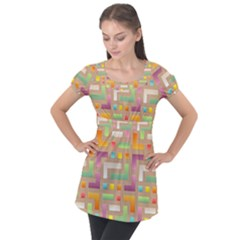 Abstract Background Colorful Puff Sleeve Tunic Top