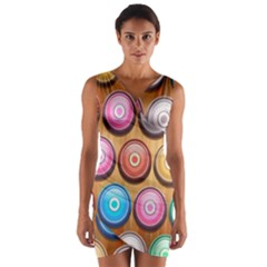 Background Colorful Abstract Brown Wrap Front Bodycon Dress