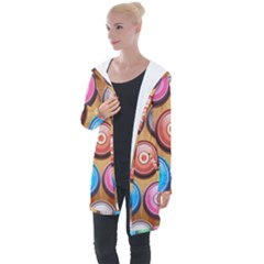 Background Colorful Abstract Brown Longline Hooded Cardigan by HermanTelo