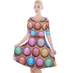 Background Colorful Abstract Brown Quarter Sleeve A Line Dress