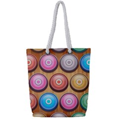 Background Colorful Abstract Brown Full Print Rope Handle Tote (small)