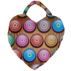 Background Colorful Abstract Brown Giant Heart Shaped Tote by HermanTelo