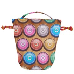 Background Colorful Abstract Brown Drawstring Bucket Bag