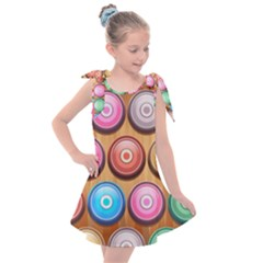 Background Colorful Abstract Brown Kids  Tie Up Tunic Dress