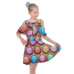 Background Colorful Abstract Brown Kids  Shoulder Cutout Chiffon Dress by HermanTelo