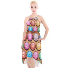 Background Colorful Abstract Brown High Low Halter Chiffon Dress