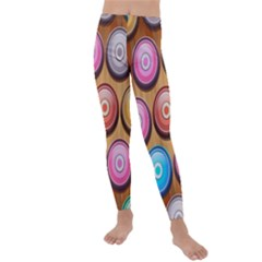 Background Colorful Abstract Brown Kids  Lightweight Velour Leggings by HermanTelo
