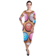 Background Colorful Abstract Brown Quarter Sleeve Midi Velour Bodycon Dress by HermanTelo