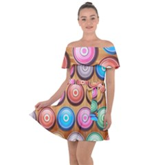 Background Colorful Abstract Brown Off Shoulder Velour Dress
