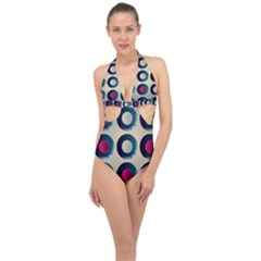 Background Colorful Abstract Halter Front Plunge Swimsuit