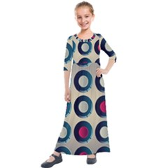 Background Colorful Abstract Kids  Quarter Sleeve Maxi Dress by HermanTelo