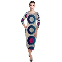 Background Colorful Abstract Quarter Sleeve Midi Velour Bodycon Dress by HermanTelo