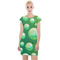 Background Colorful Abstract Circle Cap Sleeve Bodycon Dress