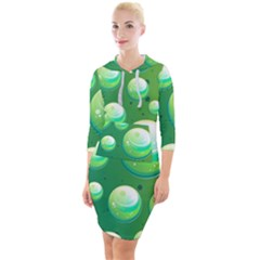 Background Colorful Abstract Circle Quarter Sleeve Hood Bodycon Dress