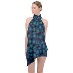 Background Abstract Textile Design Halter Asymmetric Satin Top