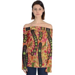Abstract Background Digital Green Off Shoulder Long Sleeve Top by HermanTelo