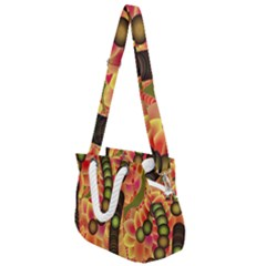 Abstract Background Digital Green Rope Handles Shoulder Strap Bag by HermanTelo