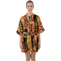 Abstract Background Digital Green Quarter Sleeve Kimono Robe by HermanTelo