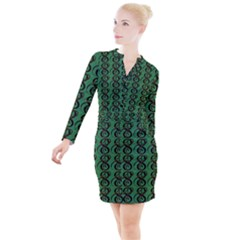 Abstract Pattern Graphic Lines Button Long Sleeve Dress by HermanTelo