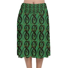 Abstract Pattern Graphic Lines Velvet Flared Midi Skirt by HermanTelo
