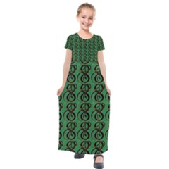 Abstract Pattern Graphic Lines Kids  Short Sleeve Maxi Dress by HermanTelo