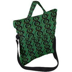Abstract Pattern Graphic Lines Fold Over Handle Tote Bag